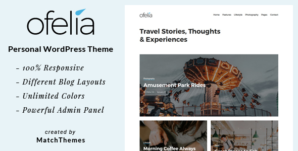 ThemeForest Ofelia Travel Personal WordPress Blog Theme 20869659