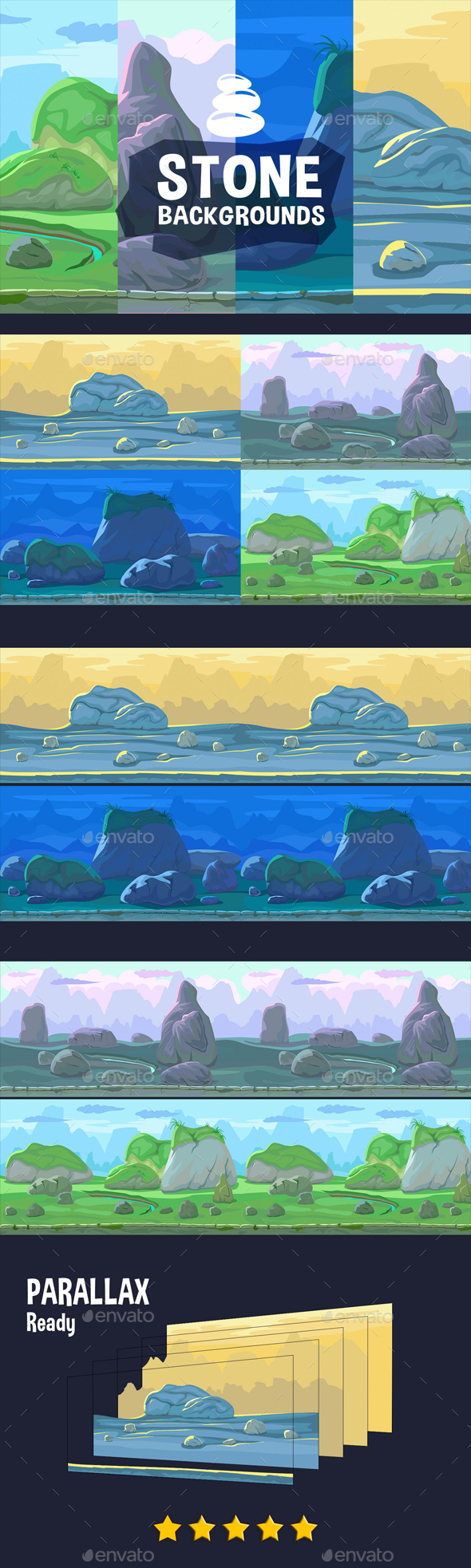 Parallax Stone Backgrounds - Backgrounds Game Assets
