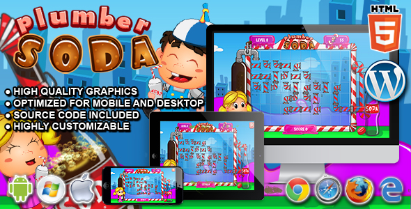 CodeCanyon Plumber Soda HTML5 Puzzle Game 21267919
