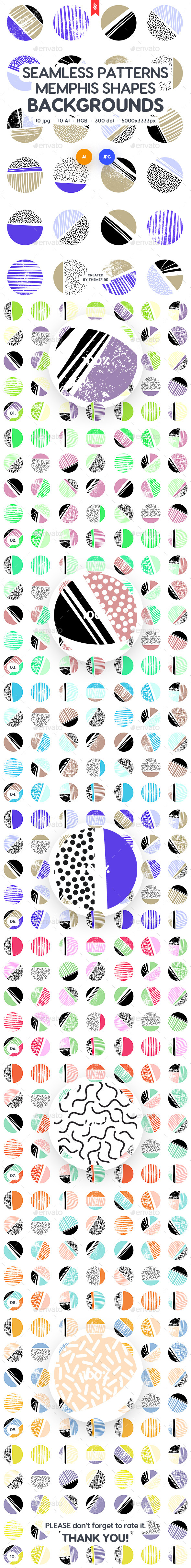 Seamless Patterns Circle Shapes in Memphis Style Backgrounds - Patterns Backgrounds