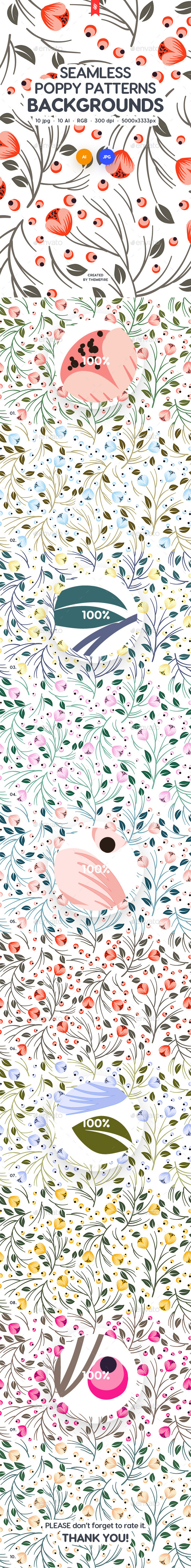 Seamless Patterns Floral Poppy Backgrounds - Patterns Backgrounds