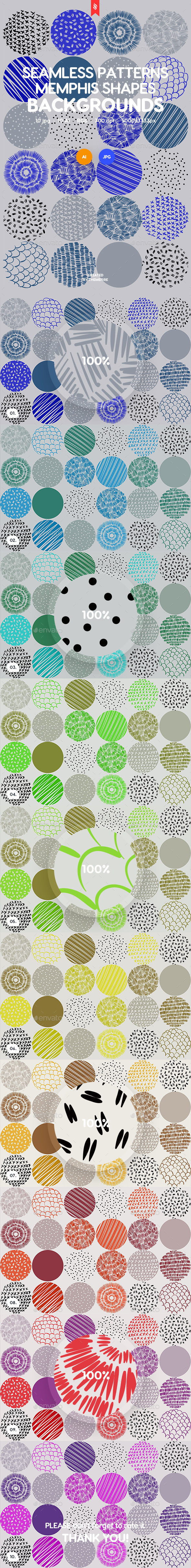 Abstract Seamless Patterns Circle Shapes in Memphis Style Backgrounds - Patterns Backgrounds