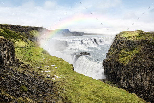 Gullfoss waterfall in Iceland - Stock Photo - Images
