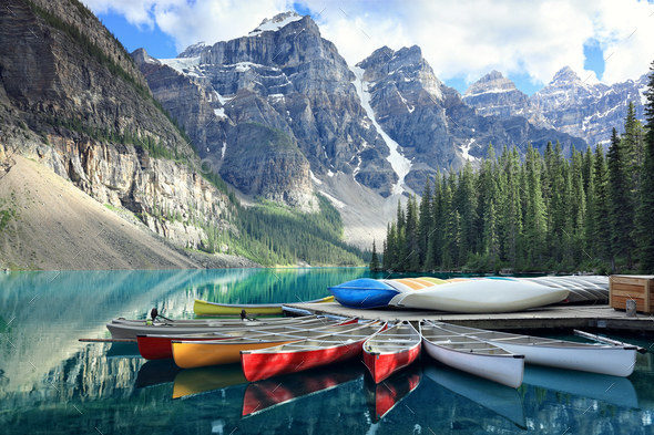 Moraine lake in the Rocky Mountains, Alberta, Canada - Stock Photo - Images