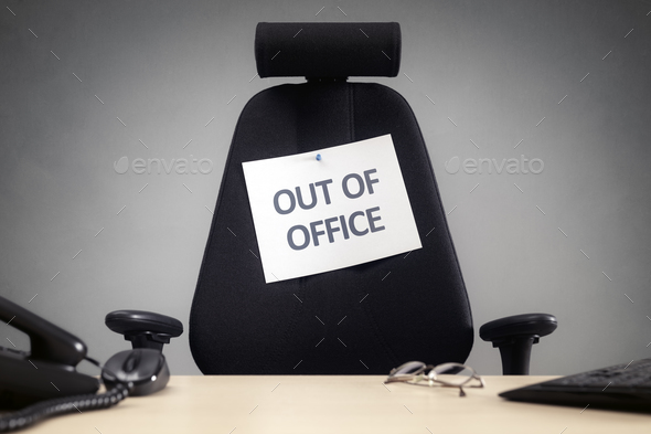 Business chair with out of office sign - Stock Photo - Images