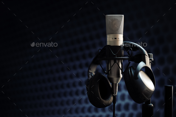 Microphone in recording studio - Stock Photo - Images