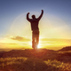 Download Happy man celebrating winning success against sunset from PhotoDune