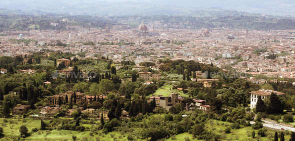 Florence in Tuscany, Italy panorama view from the North of the c - Stock Photo - Images
