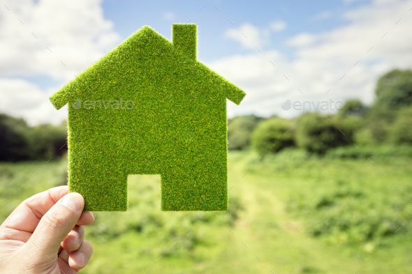 Green eco house environmental background - Stock Photo - Images