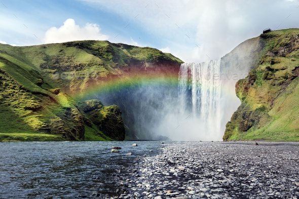 Skogafoss waterfall in Iceland - Stock Photo - Images