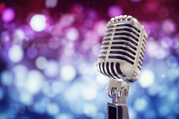 Vintage microphone on stage - Stock Photo - Images