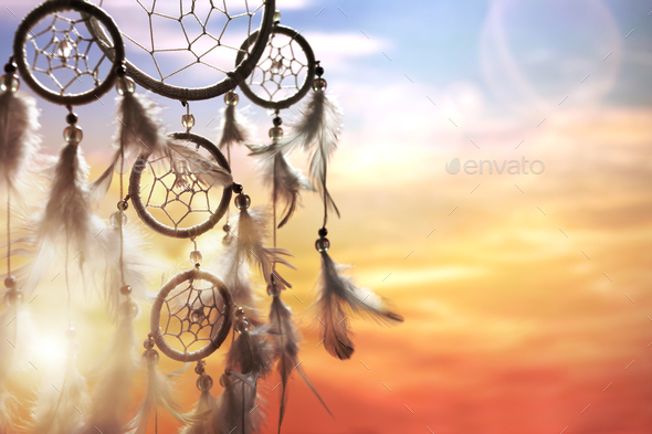 Dream catcher at sunset - Stock Photo - Images