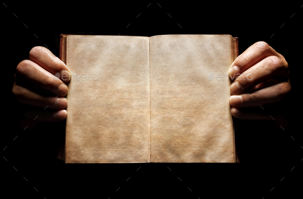 Hands holding an open empty book background - Stock Photo - Images
