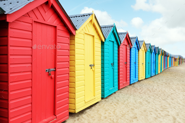 Beach huts or bathing boxes on the beach - Stock Photo - Images
