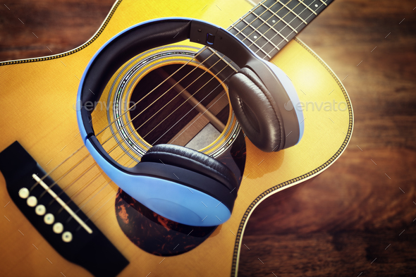 Guitar and headphones - Stock Photo - Images