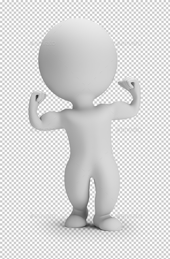 3D Small People - Shows Muscles - Characters 3D Renders