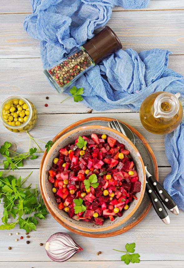 Beet Salad - Vinaigrette. Vegan cuisine. Dietary menu. Top view. - Stock Photo - Images