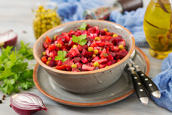 Beet Salad - Vinaigrette. Vegan cuisine. Dietary menu. - Stock Photo - Images