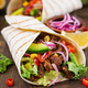 Mexican tacos with beef in tomato sauce and avocado salsa - PhotoDune Item for Sale