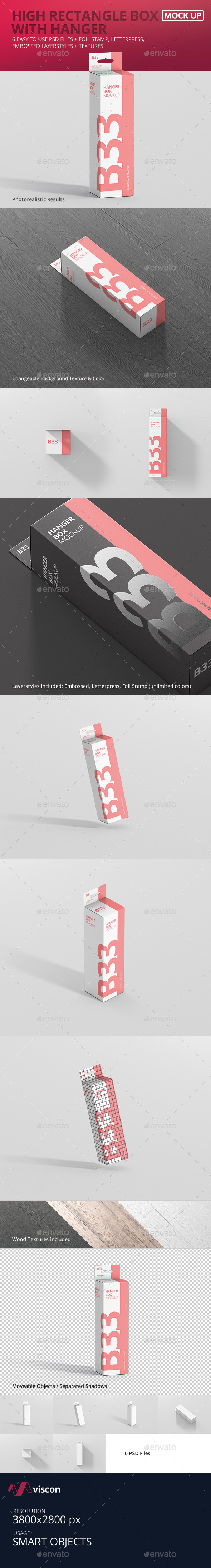 Box Mockup - High Slim Rectangle Size with Hanger - Miscellaneous Packaging