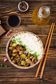 Dietary food. Boiled rice with mushrooms and Brussels sprouts in Asian style. - PhotoDune Item for Sale