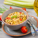 Porridge from Turkish couscous with beef and vegetables. Dietary menu. - PhotoDune Item for Sale