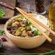 Vegan menu. Dietary food. Boiled rice with mushrooms and Brussels sprouts in Asian style. - PhotoDune Item for Sale