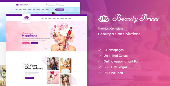 ThemeForest BeautyPress Beauty Spa Salon Wellness Html Template 21121330