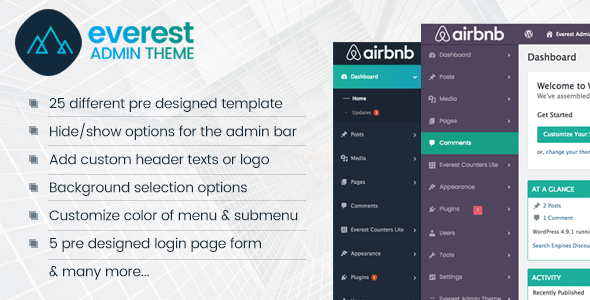 CodeCanyon Everest Admin Theme WordPress Backend customizer 21268594