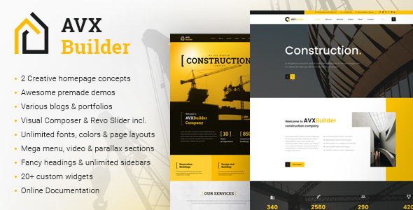 AVXBuilder - Construction Business WordPress Theme - Business Corporate