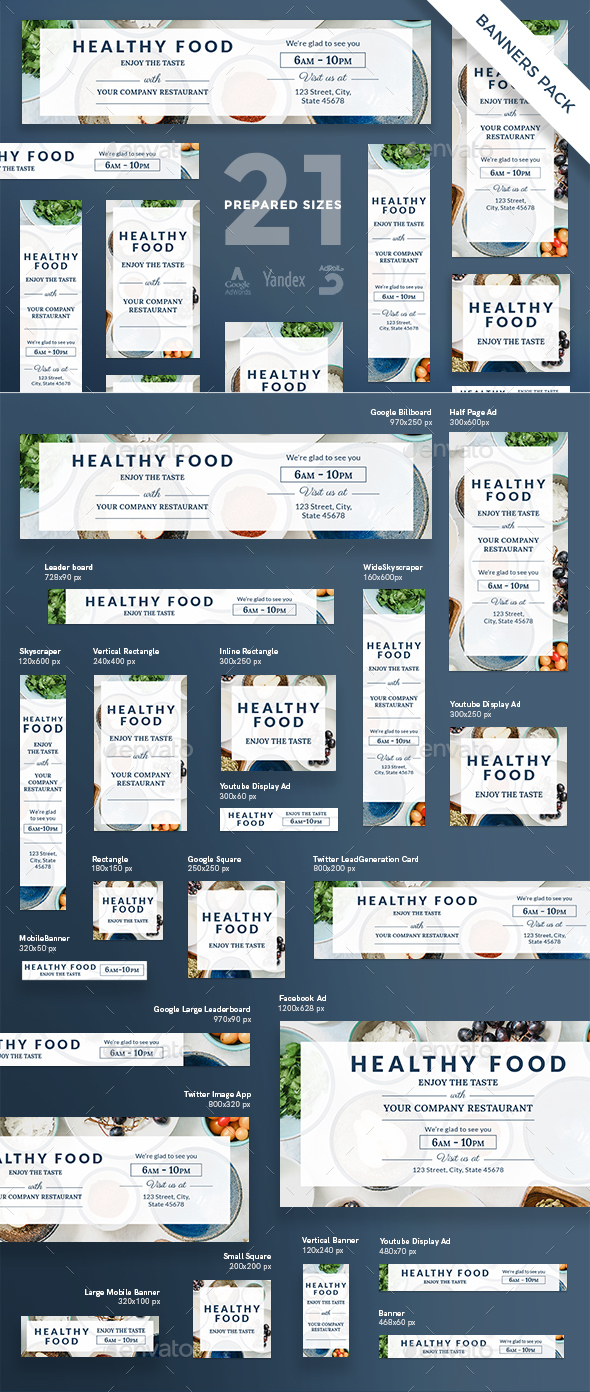 Healthy Food Banner Pack - Banners & Ads Web Elements