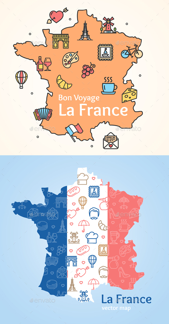 France Line Icon Welcome Concept and Map - Travel Conceptual