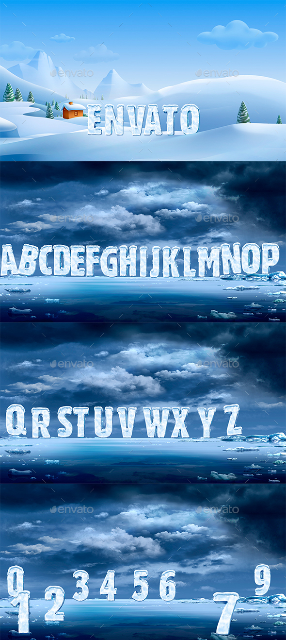 New 3D Ice Font - Text 3D Renders