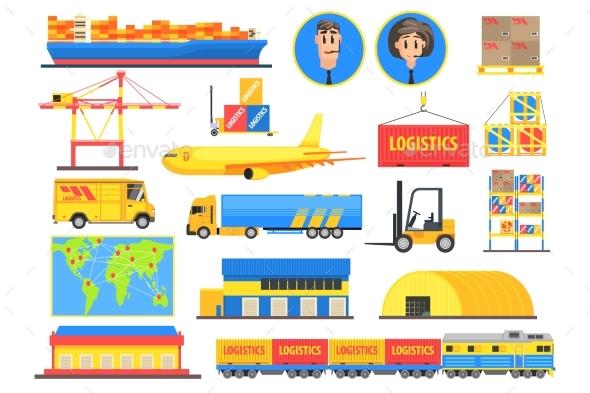 Logistic Elements Colorful Infographic - Miscellaneous Vectors