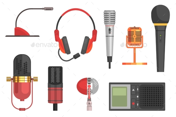 Microphone Vector Illustration Set - Miscellaneous Vectors