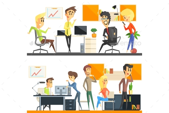 Office Team Two Illustrations Set - People Characters