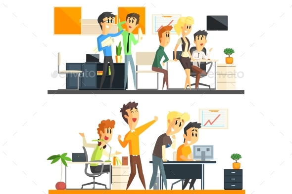 Office Team Two Illustrations Collection - People Characters