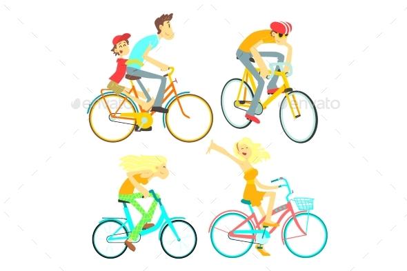 People on Bikes Set - Sports/Activity Conceptual