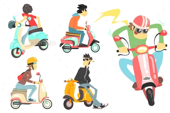 People on Scooters Set
