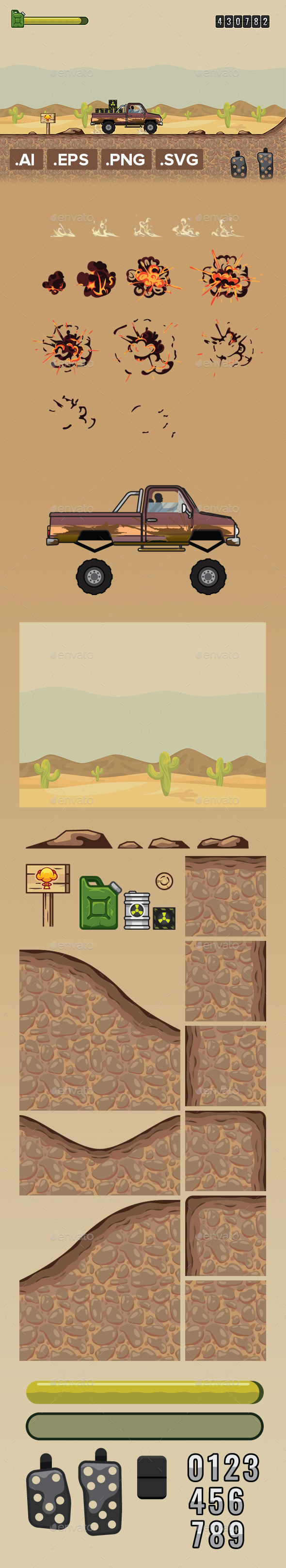 Nuclear Car Asset Tileset Game Kit Runner - Game Kits Game Assets