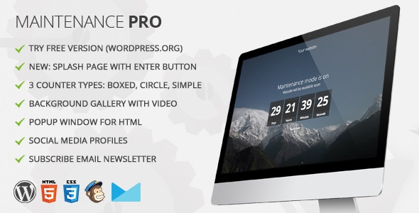 Maintenance PRO - WordPress plugin - CodeCanyon Item for Sale
