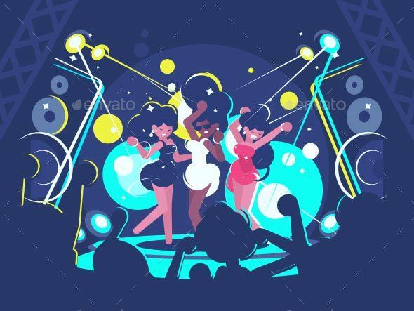 Girls Dancing in Nightclub - People Characters