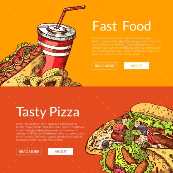 Vector Horizontal Banners with Fast Food - Food Objects