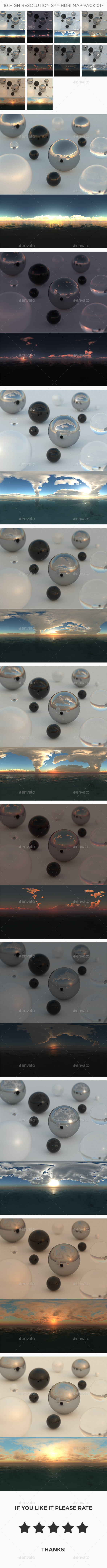 10 High Resolution Sky HDRi Maps Pack 017 - 3DOcean Item for Sale