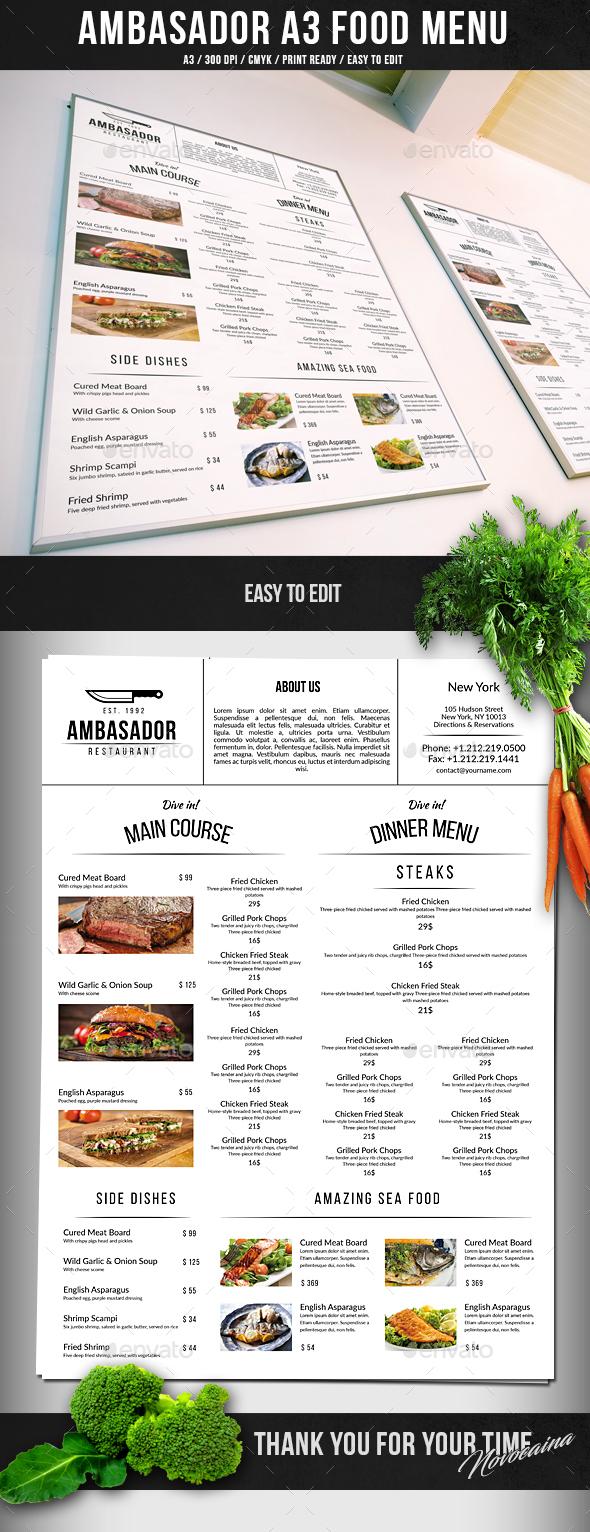 Ambasador A3 Big Menu - Food Menus Print Templates
