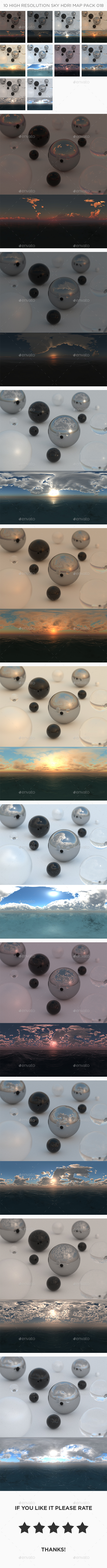 10 High Resolution Sky HDRi Maps Pack 018 - 3DOcean Item for Sale