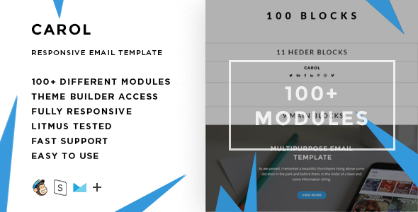 Carol – 100+ Modules - Responsive Email + StampReady Builder & Mailchimp Editor - Email Templates Marketing