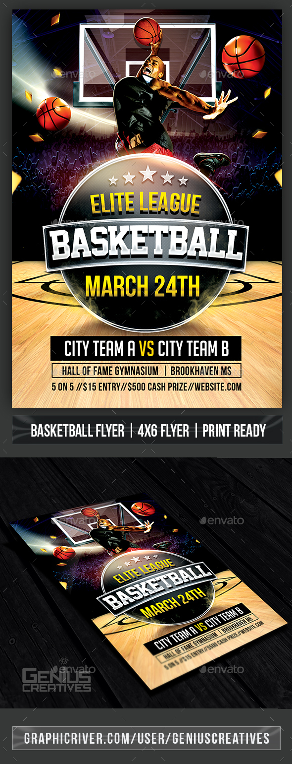 Elite Basketball Flyer Template - Sports Events