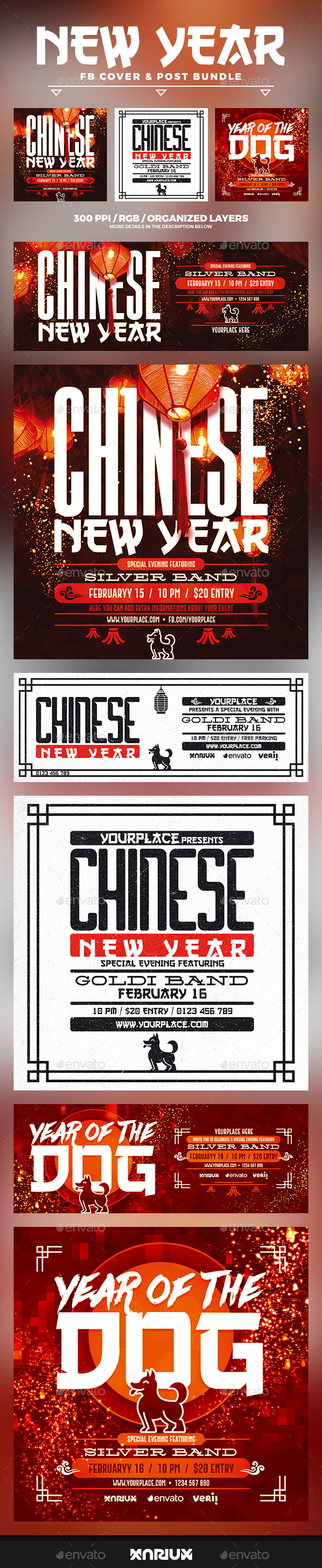 Chinese New Year Facebook Cover Bundle - Social Media Web Elements