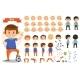 Boy Kid Playing Football and Toys Vector Cartoon